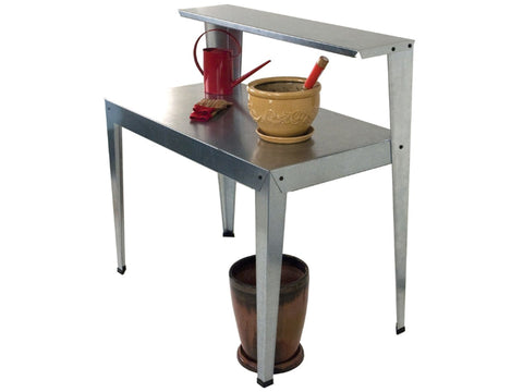 Image of Side view of the Galvanized Potting Bench in white background with accessories