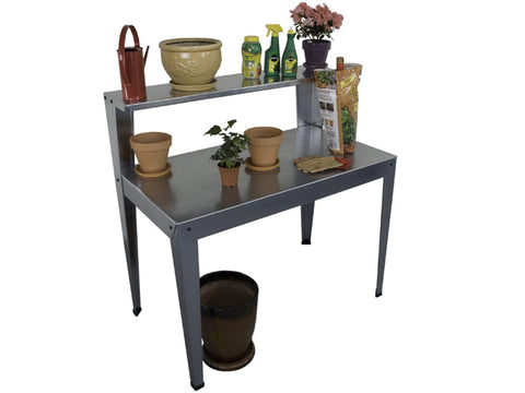 Galvanized Potting Bench in full view with accessories