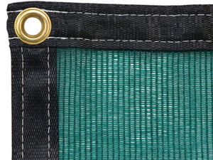 Green Shade Cloth in extreme close up view showing brass grommet