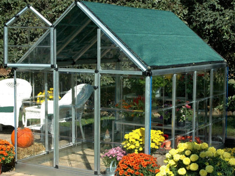 Green Shade Cloth in Full Greenhouse set-up