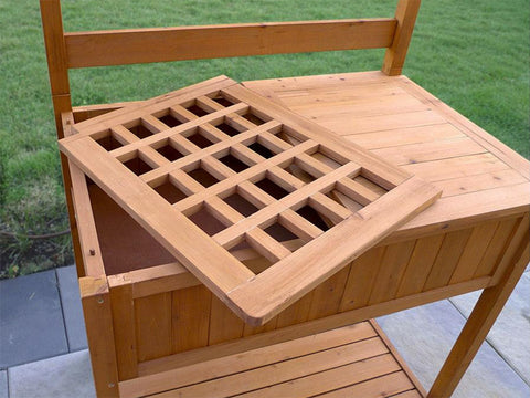 Potting Bench with Recessed Storage showing the space below