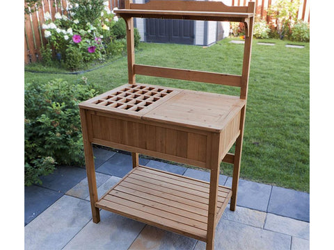 Potting Bench with Recessed Storage set up in a garden