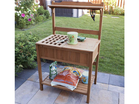 Potting Bench with Recessed Storage with tools
