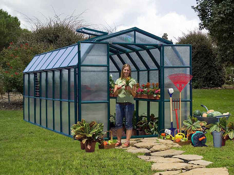 Image of Rion Prestige 2 Twin Wall 8ft x 16ft Greenhouse HG7316 - front view - open doors - in a garden