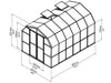 Image of Rion Prestige 2 Twin Wall 8ft x 12ft Greenhouse HG7312 - full view of framework with dimensions