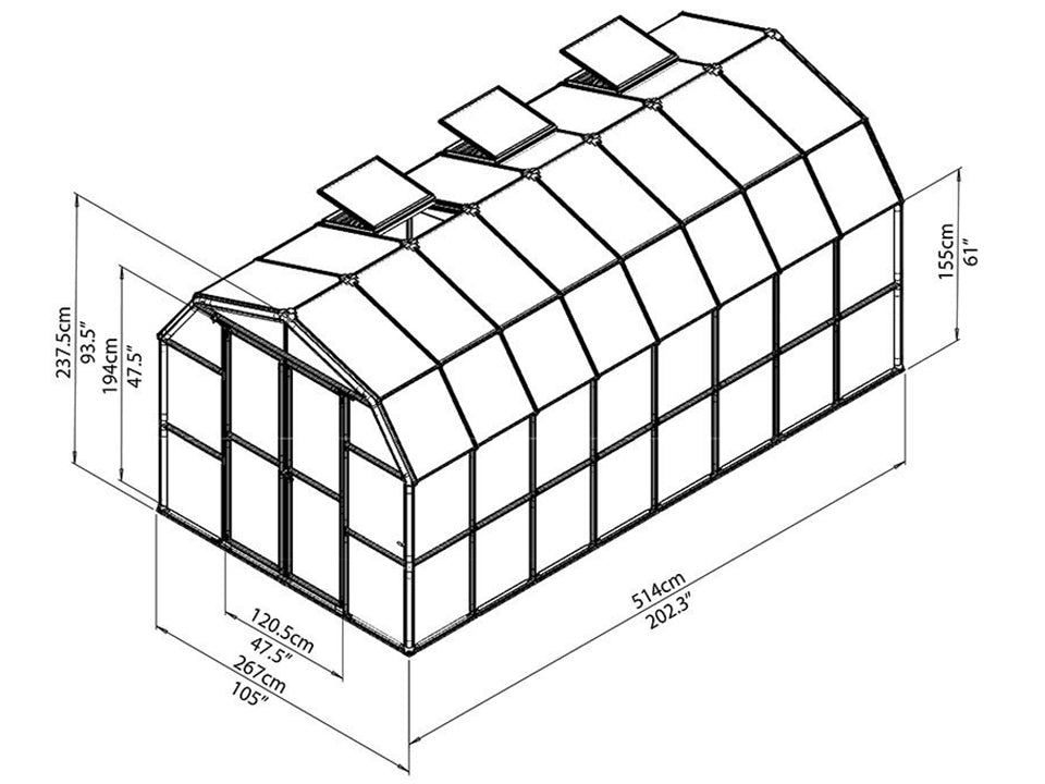 Rion Prestige 2 Twin Wall 8ft X 16ft Greenhouse Hg7316