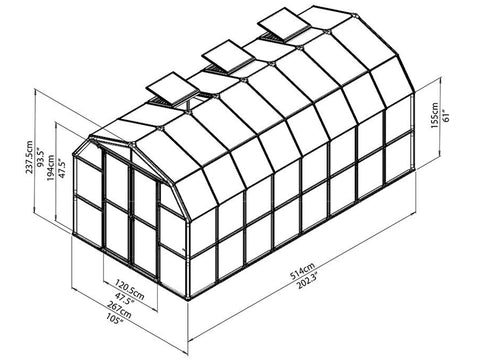 Rion Prestige 2 Twin Wall 8ft x 16ft Greenhouse HG7316 - full view of framework with dimensions