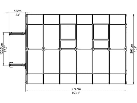 Rion Prestige 2 Twin Wall 8ft x 12ft Greenhouse HG7312 - top view of framework with dimensions