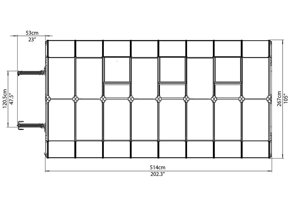 Rion Prestige 2 Twin Wall 8ft x 16ft Greenhouse HG7316 - top  view of framework with dimensions