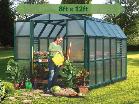Rion Prestige 2 Twin Wall 8ft x 12ft Greenhouse HG7312 - full view - green arrow on top with dimensions - in a garden