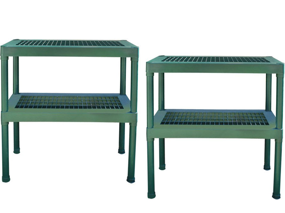 Rion Prestige 2 Twin Wall 8ft x 16ft Greenhouse HG7316 - green two-tier benches
