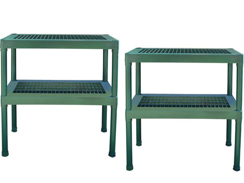 Image of Rion Prestige 2 Twin Wall 8ft x 16ft Greenhouse HG7316 - green two-tier benches