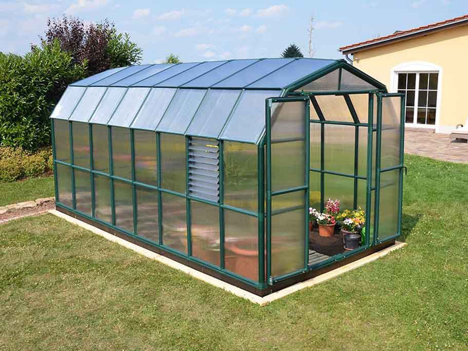 Rion Prestige 2 Twin Wall 8ft x 16ft Greenhouse HG7316 - full view - in a garden