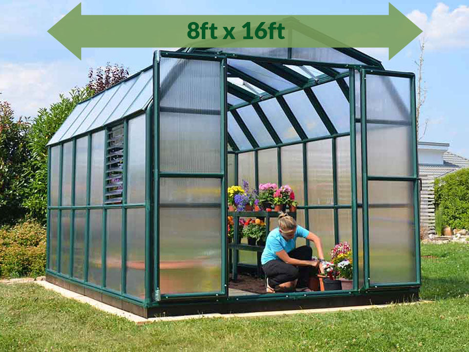 Rion Prestige 2 Twin Wall 8ft x 16ft Greenhouse HG7316 - full view - green arrow on top with dimensions - in a garden