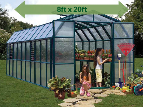 Image of Rion Prestige 2 Twin Wall 8ft x 20ft Greenhouse HG7320 - full view - green arrow on top with dimensions - in a garden