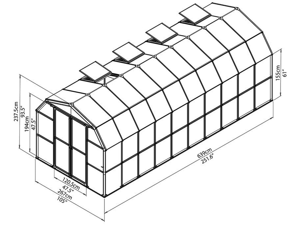 Rion Prestige 2 Twin Wall 8ft x 20ft Greenhouse HG7320 - full view of framework with dimensions