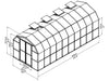 Image of Rion Prestige 2 Twin Wall 8ft x 20ft Greenhouse HG7320 - full view of framework with dimensions