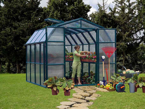 Image of Rion Prestige 2 Twin Wall 8ft x 8ft Greenhouse HG7308 - front view - open door - in a garden