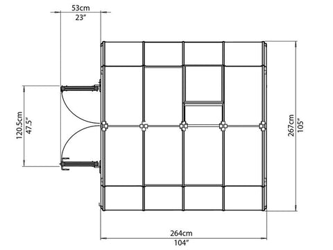 Rion Prestige 2 Twin Wall 8ft x 8ft Greenhouse HG7308 - top view of framework with dimensions