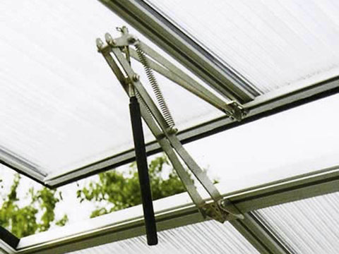 Image of Assembled and installed Riga Automatic Window Opener on a Riga Greenhouse