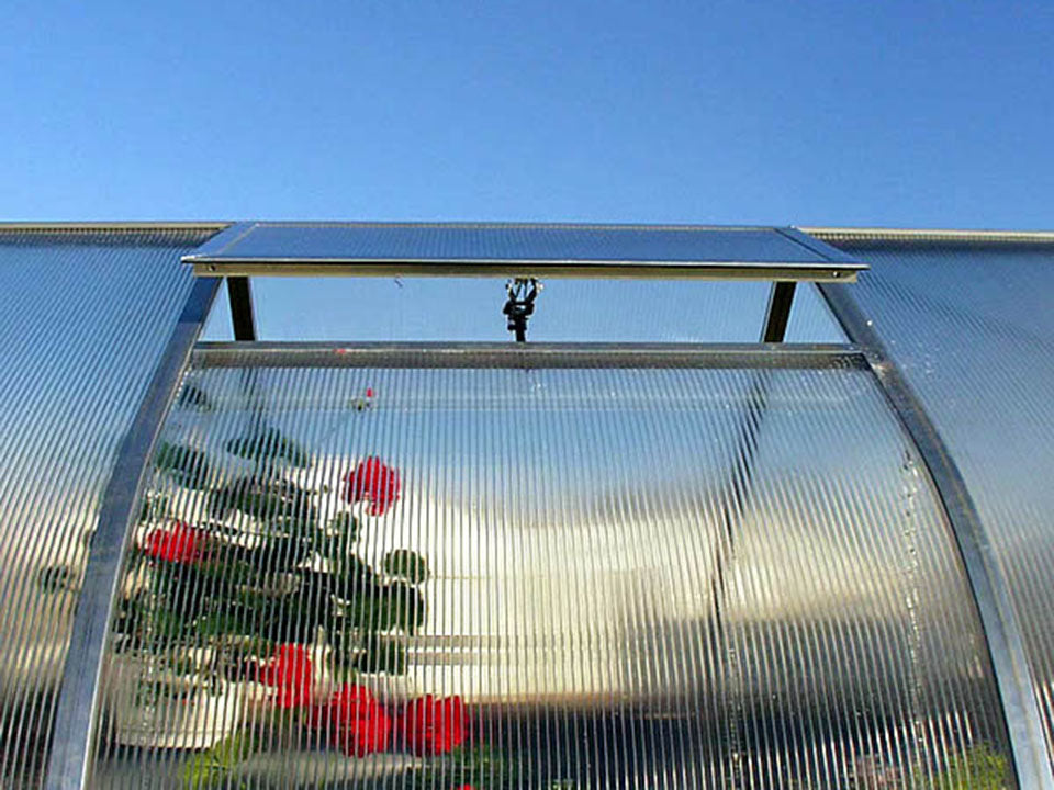 Window with automatic opener on Hoklartherm Riga 2s Greenhouse 7.8x7