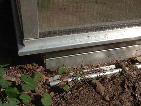 Image of Assembled Hoklartherm Riga Foundation Frame underneath a Riga Greenhouse