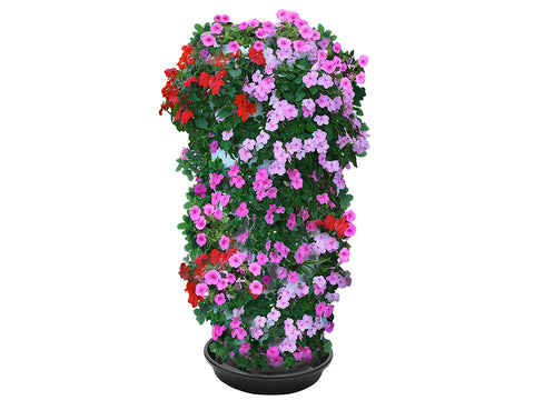RSI Plant Tower with flowers planted from top to bottom in white background