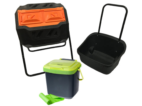 Image of RSI Tumbler Composter with a black cart on the right, bin in the middle and green corn bags