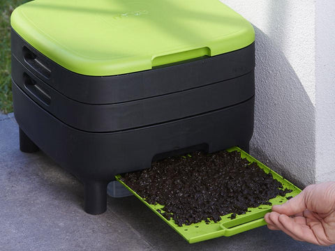 Worm-Saver Tray in green pulled out of the MAZE Worm Farm unit