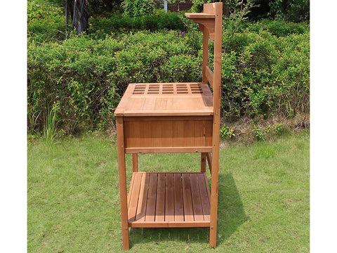 Potting Bench with Recessed Storage - Side view