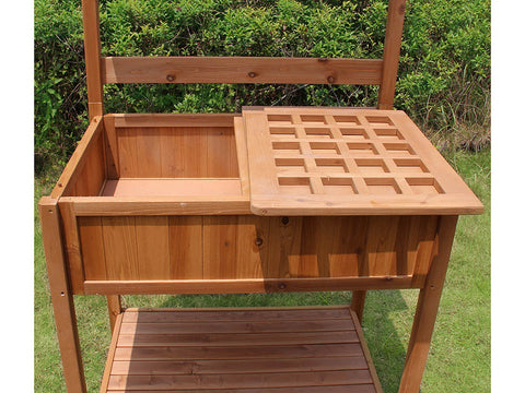 Potting Bench with Recessed Storage - open side drawer for storing items