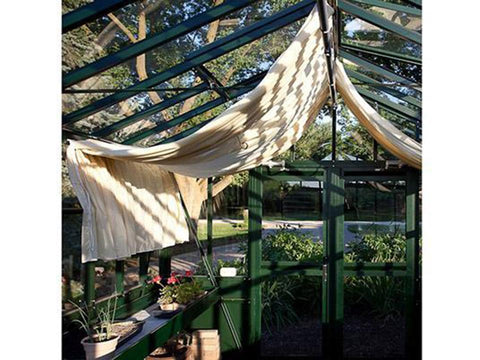 Image of Janssens Retro Royal Victorian VI34 Greenhouse 10ft x 15ft - interior view with shade cloth, plants and flowers