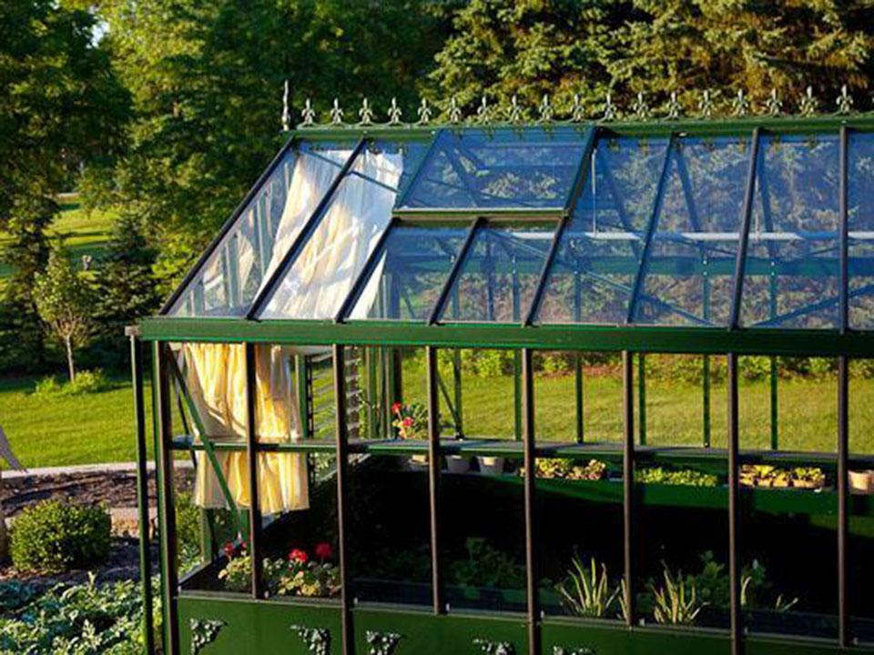 Side view of Janssens Retro Royal Victorian VI46 Greenhouse 13ft x 20ft