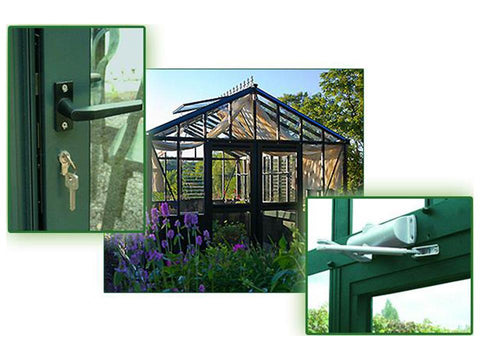Image of Detailed close up view of hinged doors of Janssens Retro Royal Victorian VI46 Greenhouse 13ft x 20ft