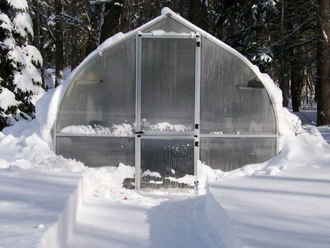 Riga Greenhouse surrounded by snow - Strong enough to withstand heavy winters
