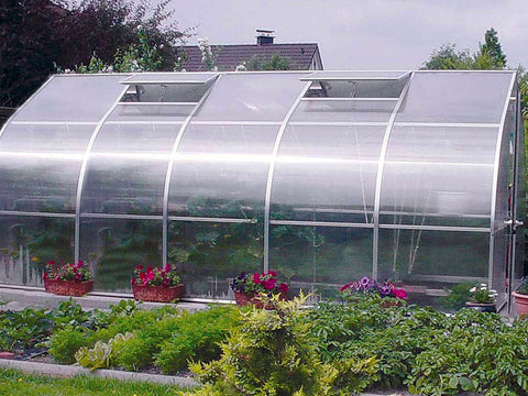 "Side view of the Hoklartherm Riga 5 Greenhouse 9'8""x17'6"""