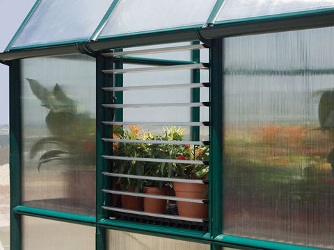 Open Rion Side Louver Window installed in a greenhouse