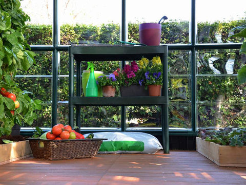Image of Rion Two Tier Staging Bench with plants and tools