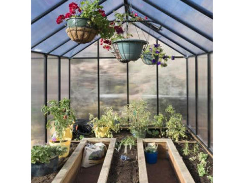 Riverstone Monticello Greenhouse 8x12 - snow load of 24 lbs - interior view with plants and flowers