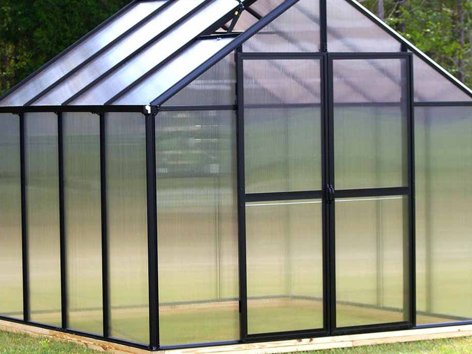 Bare Riverstone Monticello Greenhouse 8x12 - closed door