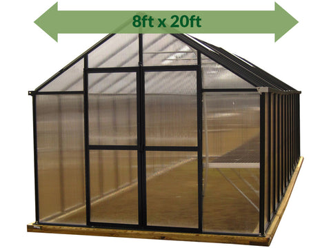 Riverstone Monticello Greenhouse 8x20 - front view - green arrow on top showing dimensions - white background