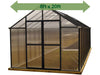 Image of Riverstone Monticello Greenhouse 8x20 - front view - green arrow on top showing dimensions - white background