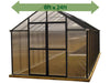 Image of Riverstone Monticello Greenhouse 8x24 - front view - green arrow on top showing dimensions - white background