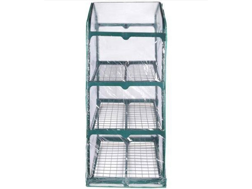 Side view of Genesis Portable Rolling Greenhouse with clear cover
