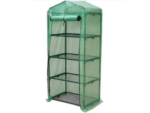 Image of Genesis Portable Rolling Greenhouse with open opaque cover - slightly facing the left side