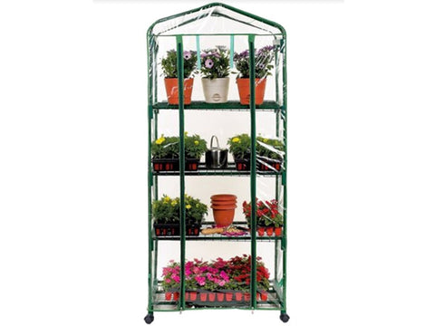 Image of Genesis Portable Rolling Greenhouse with closed clear cover and plants inside