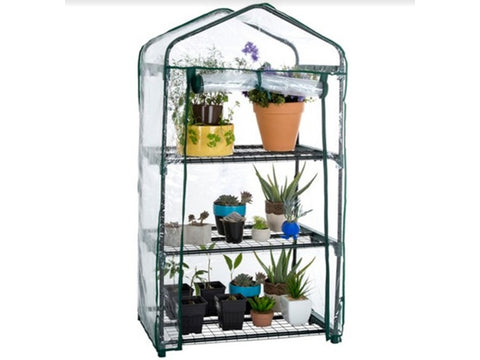 Image of Genesis Portable Rolling Greenhouse with open clear cover and plants inside