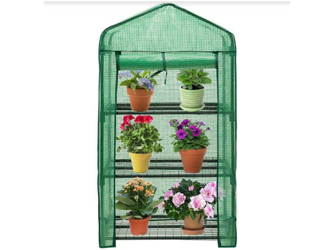 Image of Genesis Portable Rolling Greenhouse with open opaque cover and plants inside