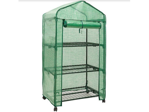 Image of Genesis Portable Rolling Greenhouse with open opaque cover slightly facing right