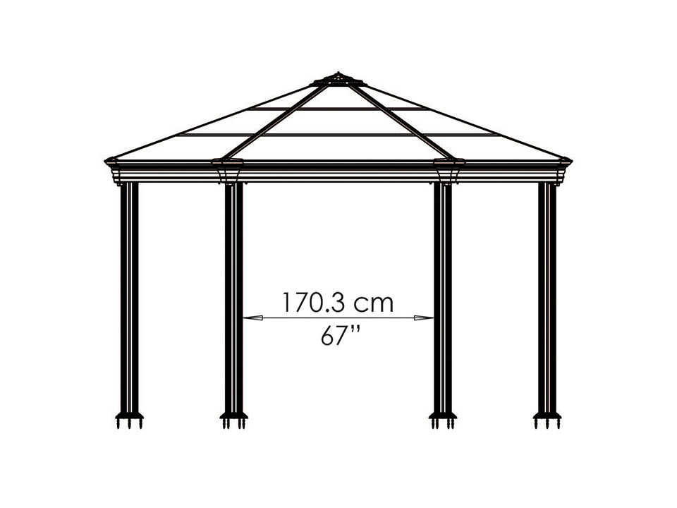 Roma Garden Gazebo - side view of framework with dimensions - white background